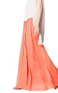 falda larga zara naranja 29,95