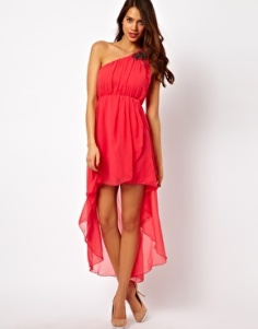 vestido asimetrico asos rosa