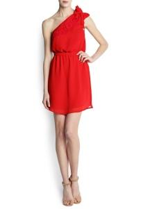 vestido asimetrico rojo gasa mango
