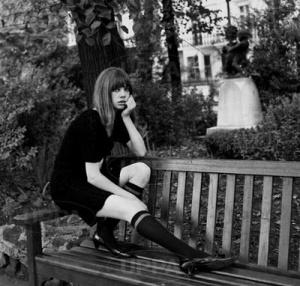 jane birkin style park bench knee highs
